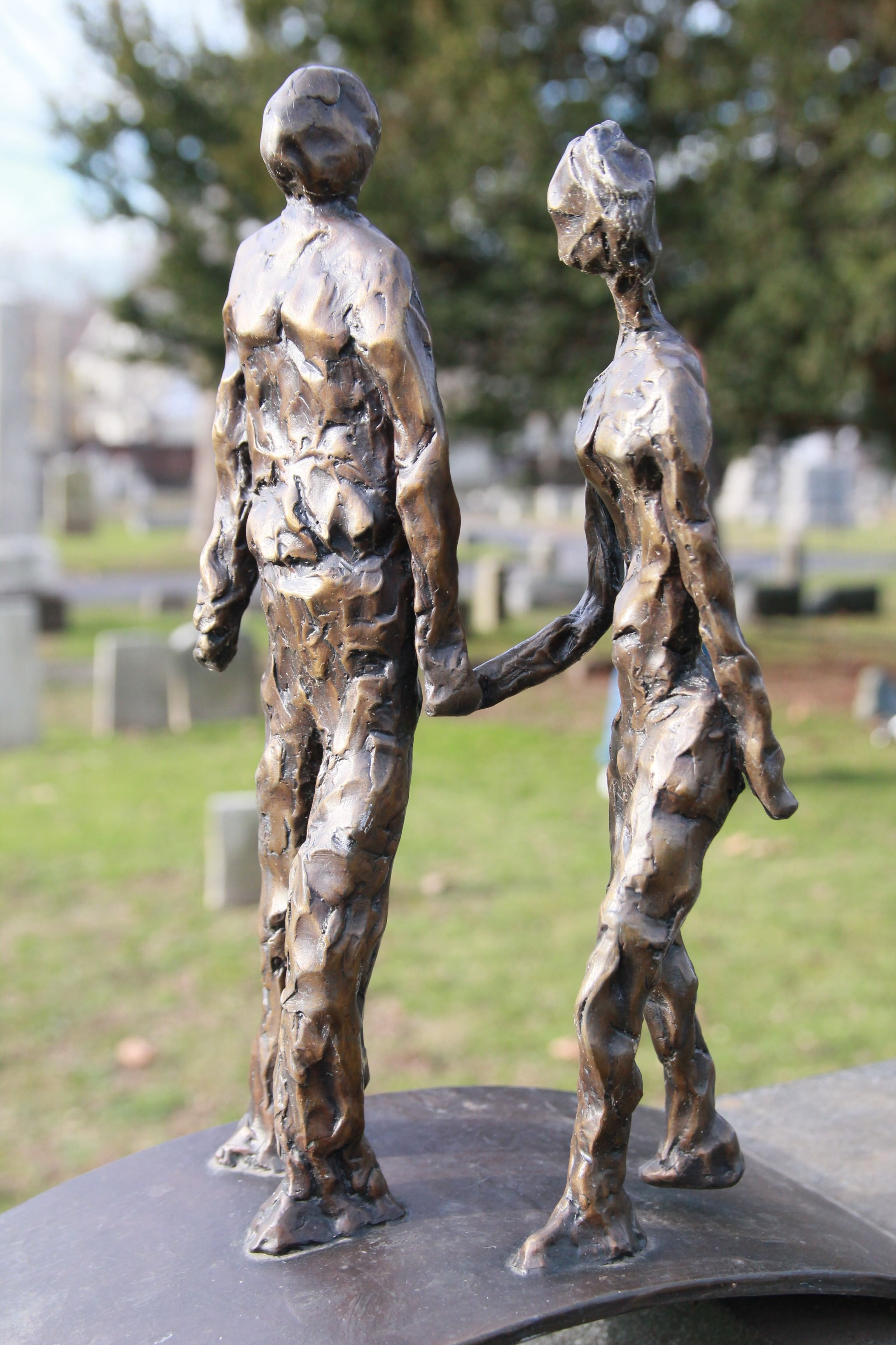 Grove Street Cemetery Headstone Two People Walking Sculpture