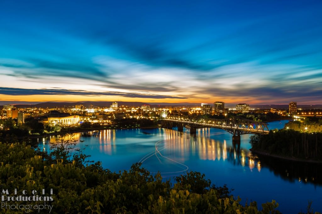 Bridge between Ottawa and Gatineau, Quebec from above the Rideau. Canada. © Miceli Productions Photography