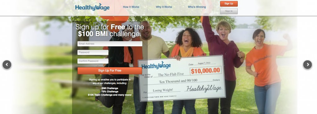 Screen grab of the HealthyWage website, featuring 5 models from a photo shoot coordinated by Miceli Productions