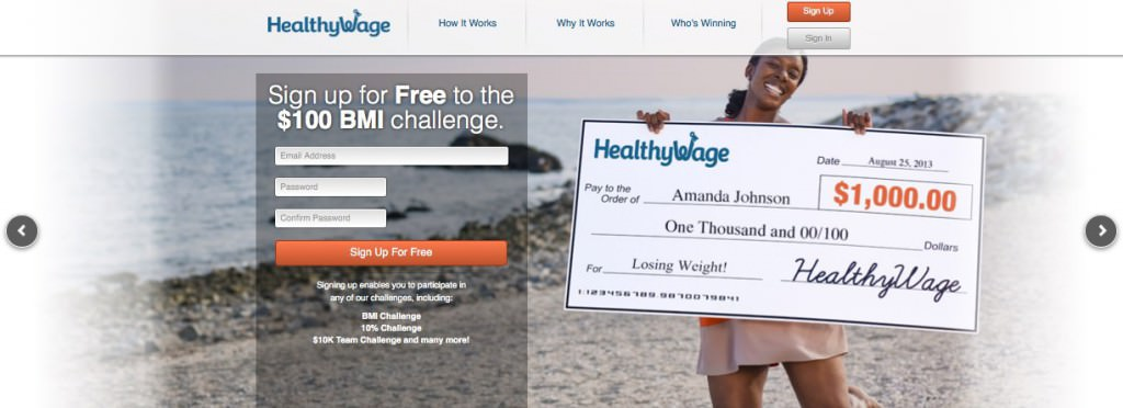 Screen grab of the HealthyWage website, featuring 1 model from a photo shoot coordinated by Miceli Productions