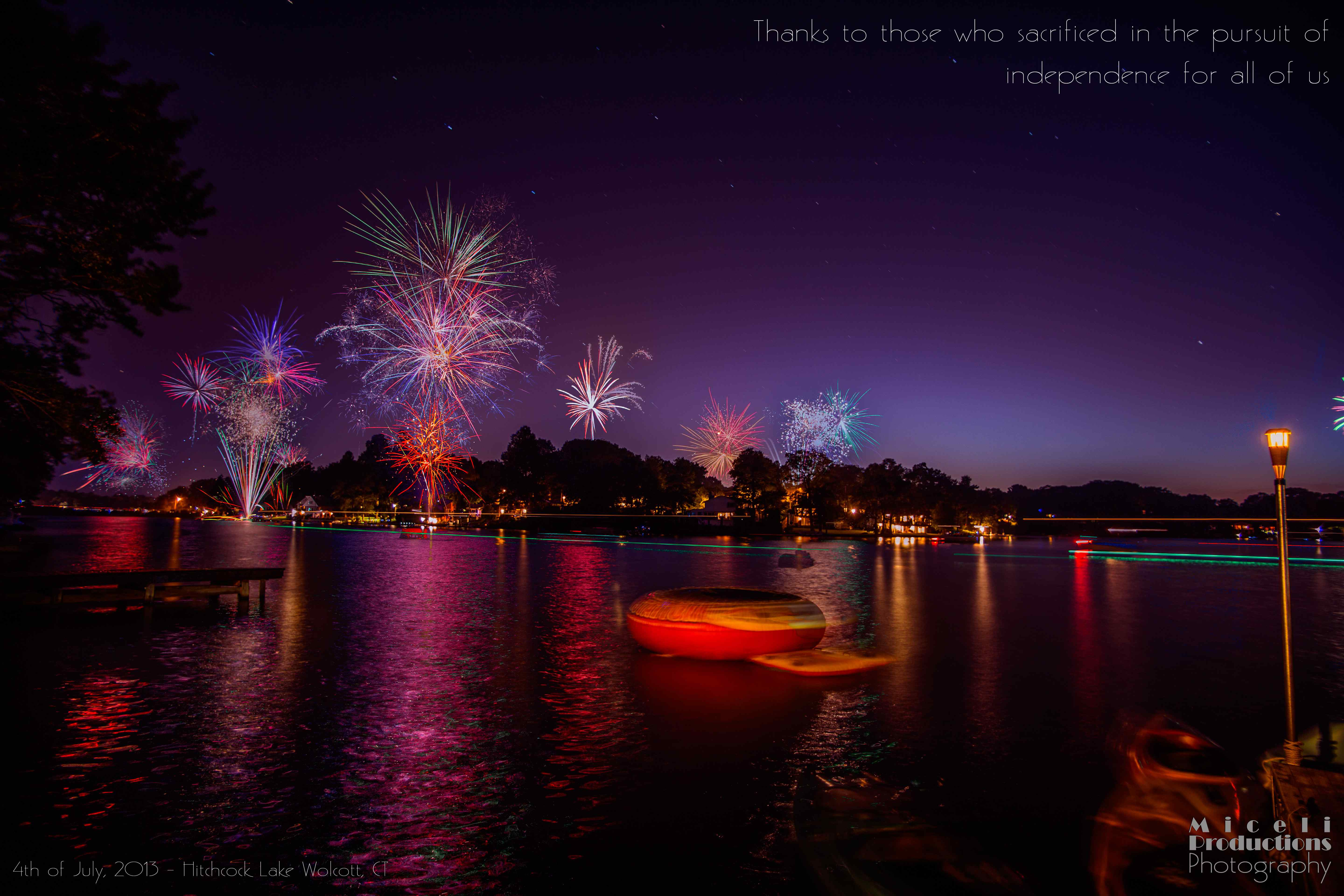 Fouth of July, Miceli Productions Photography, fireworks, nightime fireworks, lake.  © Miceli Productions Photography