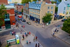 A street in Quebec City looking down from the old city wall at the people shopping and walking below. Quebec, Canada.