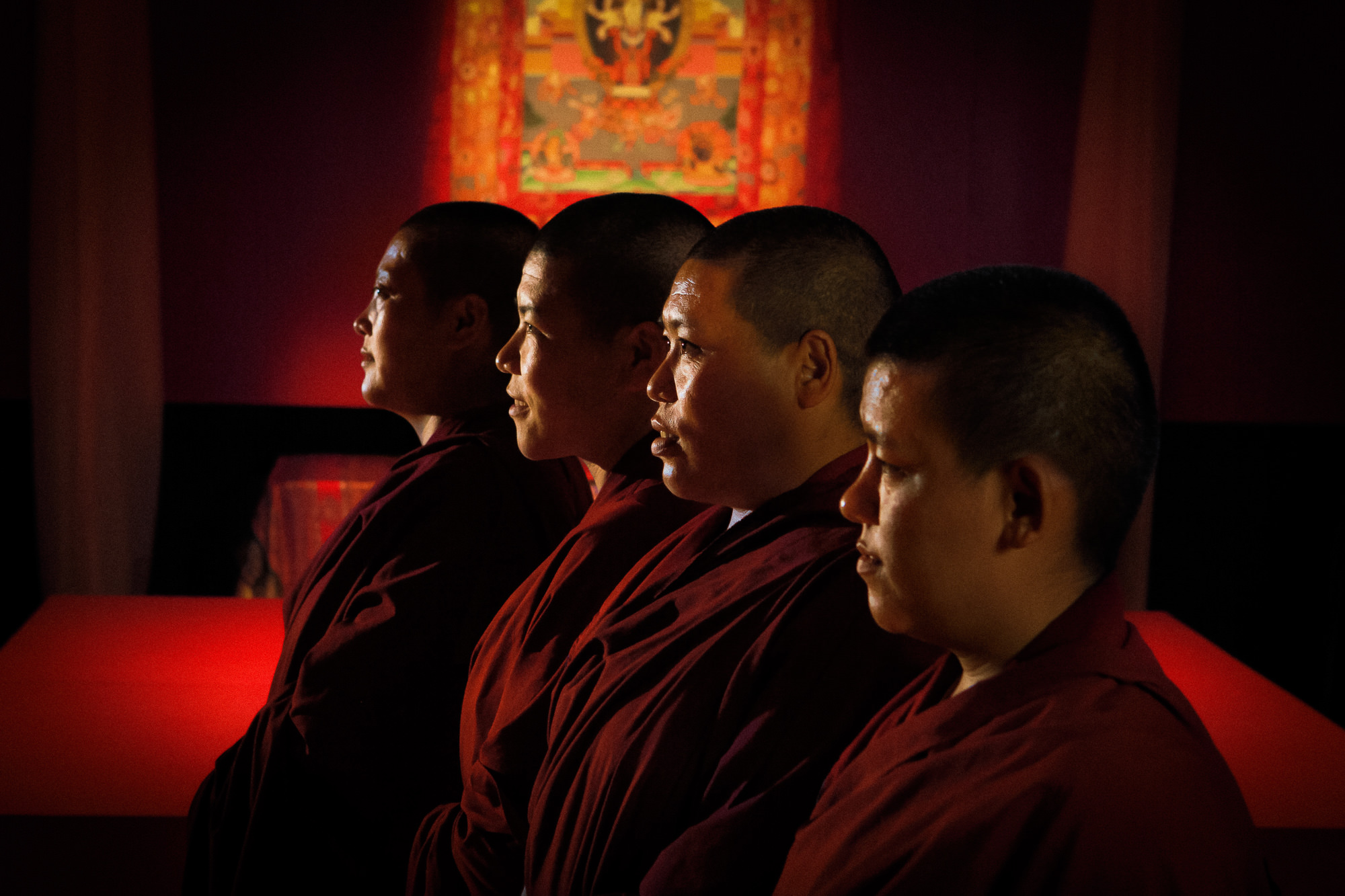Six Buddhist nuns from the Keydong Thuk-che Choeling Nunnery in Kathmandu, Nepal, arrived in Hartford on August 16, 2012 in preparation for building a mandala, a sand painting used for prayer, contemplation, and healing, at Trinity College, in Hartford, Connecticut.