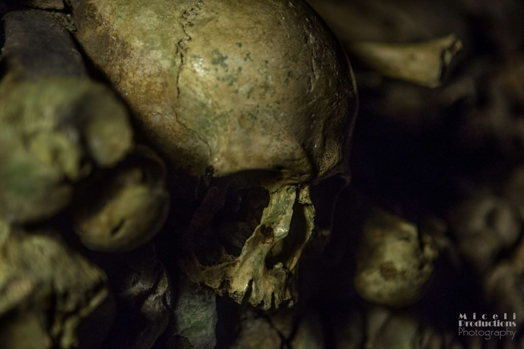 A close up image of a skull in The Catacombs of Paris.