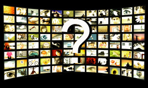 A panel of TVs showing images. Image from iStockPhoto