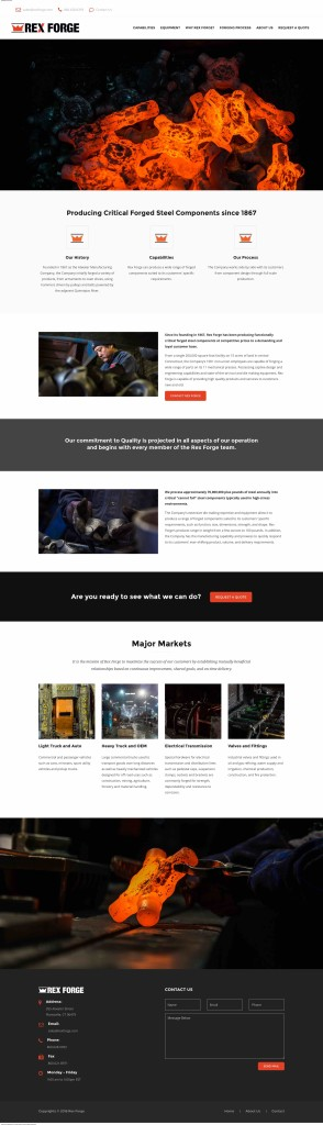 New Rex Forge homepage with photography by Miceli Productions PHOTO + VIDEO. Rex Forge delivers Critical Forged Steel Production.
