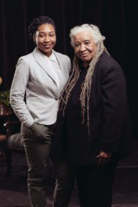 Portrait of Patricia Johnson (right) with Miracle Hyde, participant of the documentary video, HAVING THEIR SAY from Hartford, CT. Video by Miceli Productions.