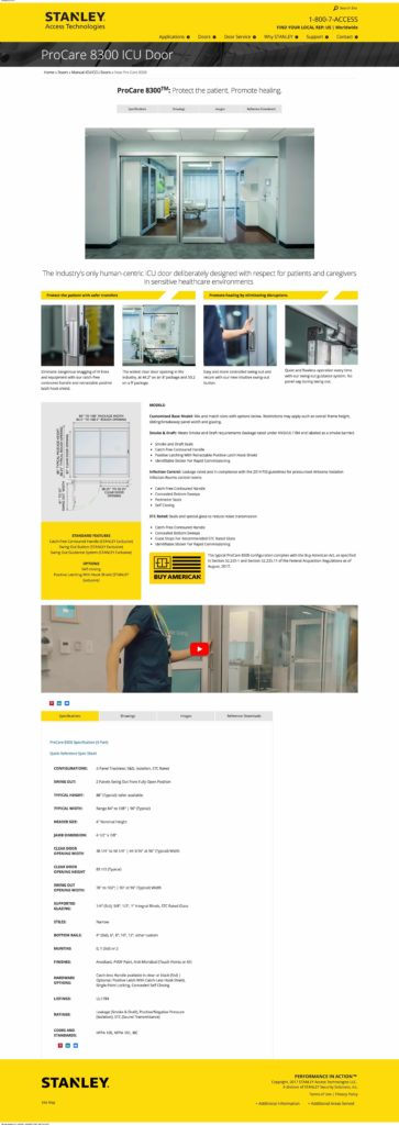 Stanley ProCare 8300 ICU Door landing page, video by Miceli Productions