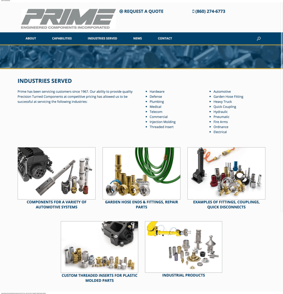 Industrial photography, manufacturing photography by Miceli Productions. Image of website page with parts for Prime Engineered Components in CT.